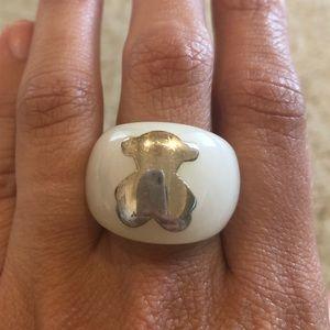 Authentic white stone Tous ring